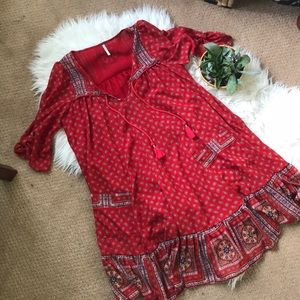Free people red lose fit dress